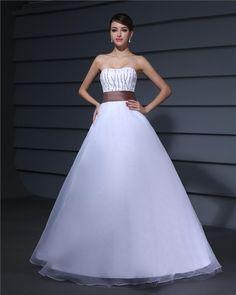 Designer Romantic Tulle Taffeta Strapless Ball Gown A-line Wedding Dress