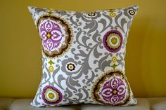 Waverly Designer Fabric 18 x 18 Pillow Cover - Grey and Purple Throw Pillow. $16.00, via Etsy.