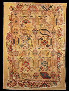 "Ushak Bird carpet, Western Turkey, Ushak-Selendi-Manisa Area, XVII century. The Evangelical Church in Rupea (inv 44) illustrated in Stefano Ionescu's ""Antique Ottoman Rugs in Transylvania"""
