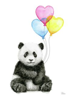 Baby Panda Art Print featuring the painting Baby Panda With Heart-shaped Balloons by Olga Shvartsur