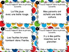 Cartes à tâches sur les adjectifs qualificatifs. Grammar Activities, Grammar And Vocabulary, French Teacher, Teaching French, Classroom Procedures, Classroom Management, Classroom Arrangement, First Year Teaching, Nouns And Verbs