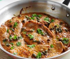 Veal with lemon and caper sauce recipe - By Australian Women's Weekly, These veal schnitzels soak up the tasty lemon and caper sauce providing a delicious dinner in just 18 minutes. Veal Schnitzel, Veal Cutlet, Sauce Recipes, Cooking Recipes, Oven Recipes, Keto Recipes, Langostino Recipes, Vegetarian Food, Meals