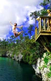 Captain Bill's Blue Hole. A great place to swim and jump, and picnic, and just have fun. Near Small Hope Bay Lodge, Andros, Bahamas
