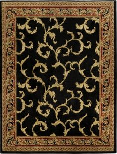 "Floral Traditional Black Ivory 5'3"" x 6'11"" Area Rug Maxy Home Pasha Collection PAS4523 Maxy Home http://www.amazon.com/dp/B00L8WWO6M/ref=cm_sw_r_pi_dp_WeeTub1VXZAEH"