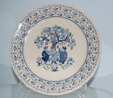 VINTAGE Staffordshire, Johnson Bros. SUGAR and SPICE Blue Dinner Plate, hand engraved. Lovely