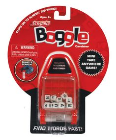 """This mini 'take anywhere' game has a convenient carabiner that clips to almost anything. At 3.5"""" tall and 2"""" wide, this little game includes 15 letters and a little one minute timer (really cute)."""