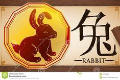 Voluta Con La Medalla Con El Conejo Chino Del Zodiaco Sobre El Fondo De Madera, Ejemplo Del Vector Ilustración del Vector - Ilustración de elemento, astrología: 103709852