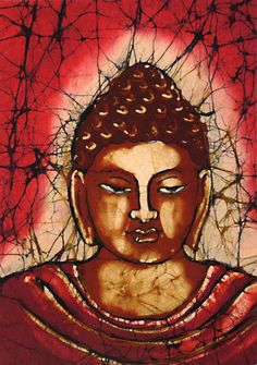 Buddha (Batik Painting on Cotton Cloth - Unframed))