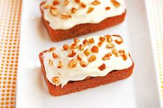 These individual Mini Carrot Cake Loaves are soft, individual sized cinnamon and carrot cakes topped with a delicious cream cheese frosting