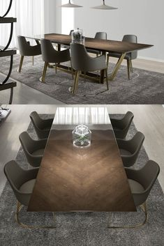 London Collection Designer Veneered Dining Table And Chairs Set - Pinpon Dinning Table Design, Unique Dining Tables, Luxury Dining Tables, Dining Room Table Decor, Wooden Dining Tables, Table Furniture, Luxury Furniture, Dining Set, Marble Dinning Table