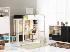 Lundia Lofty-bed and Lundia Classic shelves