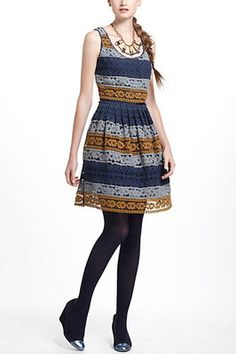 Anthropologie Striated Lace Dress by Maeve Size 8 Medium $228.00