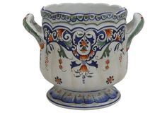 1900-1910 French Faience Rouen-Style Cachepot