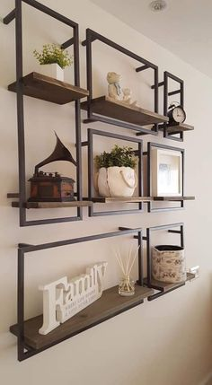 68 amazing decorating shelves 8 tips for decorating 51 68 am – Wall Products Vintage Industrial Furniture, Metal Furniture, Furniture Decor, Furniture Design, Interior Design Living Room, Living Room Decor, Kitchen Interior, Muebles Living, Decorating On A Budget