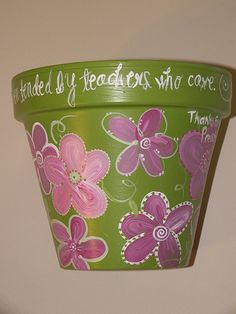 (hand painted flower pot, signed: Children, like flowers bloom ever more fair, when tended by teachers who care) I have few hand painted flower pots at my home. Flower Pot Crafts, Clay Pot Crafts, Diy Clay, Diy Crafts, Painted Clay Pots, Painted Flower Pots, Hand Painted, Pot Image, Flower Pot People