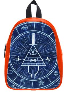 Custom Gravity Falls Bill Backpack Students School Bag Outdoor Backpack OrangeRed L. Size: 12x5x15 Inch. High-grade PU leather. Adjustable padded leather shoulder straps. Large multi-compartment design. Large capacity , suitable for any occasions , weekend out , travelling , or School.