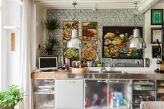 """Marc and Paola Sadler's home in Milan's industrial estate, Zona Tortona, """"is not really a designer house—it's a mixed up house,"""" that the two have filled with many of their own paintings and drawings. - Freunde von Freunden"""