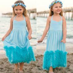 725b61b6a51 Girls Blue Halter Maxi Dress with Ruffle Waves Hallandale Beach