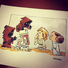 Etsy commission of lil Luke and Leia! #starwars #calvinandhobbes mashup #lilkylo