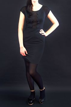 Esme scallop front wiggle dress- black | Swonderful Boutique