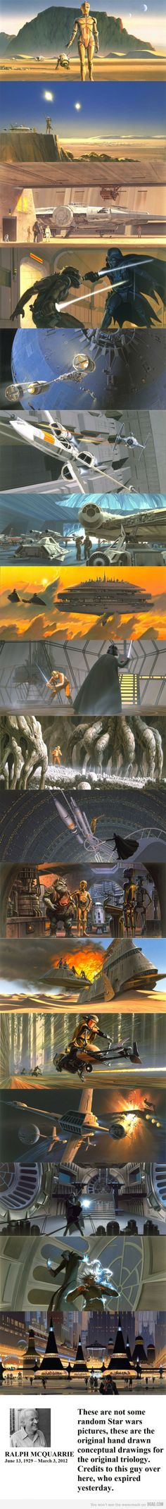 Star Wars hand-drawn conceptual drawings by Ralph McQuarrie (RIP) - Image found via 9gag. Link modified to refer to RMQ's website.