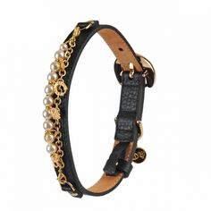 monalisa leather dog collar black by Moshiqa