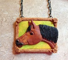 Bay Horse Necklace Handsculpted One of a by designsbyginnybaker, $45.00