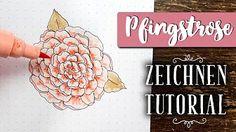 Schritt für Schritt Anleitung, wie du eine Pfingstrose zeichnen kannst. Es ist viel einfacher, als es aussieht! Bullet Journal 2020, Bujo, Doodles, Diy, Bullet Journal Ideas, Pentecost, To Draw, Tutorials, Bricolage