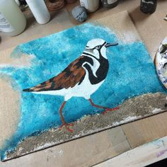 Working out the kinks on this commissioned piece #art #birds #painting #mixedmedia