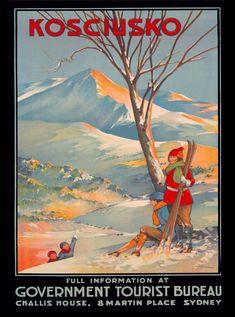 Premium Giclee Print: Mount Kosciuszko, Australia - Skiing by George Ernest Akinhead : Posters Australia, Vintage Ski Posters, Retro Posters, Australian Vintage, Tourism Poster, Retro Illustration, Illustrations, Advertising Poster, Vintage Advertisements