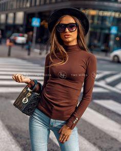 Moderný dámsky top čokoládový vo veľkosti uni Turtle Neck, Autumn, Stylish, Uni, Sweaters, Clothes, Shopping, Collection, Tops