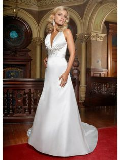 Satin Halter V-neck Delicately Gathered Bodice A-line Wedding Dress