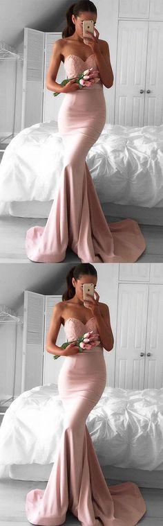 Sweetheart Pink Satin Lace Mermaid Bridesmaid Dress with Sweep Train