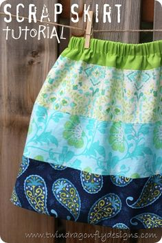 Sewing Skirts Really Cute Scrap Skirt Tutorial - Tells you how to put a lining in your skirt.this might help the seam from rolling? Beginner Sewing Patterns, Sewing For Beginners, Sewing Tutorials, Sewing Projects, Sewing Ideas, Dress Tutorials, Love Sewing, Sewing For Kids, Baby Sewing