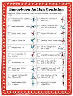 Camping Activities Discover Superhero Action Verb Challenge Incorporate movement and learning with this fun worksheet to teach action verbs Check out the complete Superhero Action Verb packet. Superhero Preschool, Superhero Classroom, Classroom Themes, Superhero Ideas, Superhero Games For Kids, Superhero Party Activities, Gross Motor Activities, Therapy Activities, Preschool Activities