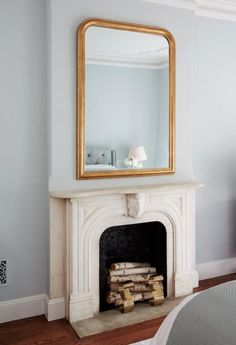 Wall Hanging Framed Mirror Above Fireplace Mirror Above Fireplace, White Fireplace, Fireplace Design, Wall Mirror, Brass Mirror, Faux Fireplace, Mirror Work, Fireplace Ideas, Framed Wall