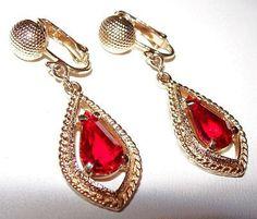 Designer Earrings Sarah Cov Red Rhinestones by BrightgemsTreasures, $12.50