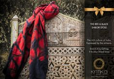 THE RED & BLACK SHIBORI STOLE The rich culture of India Expressed by the artisans. Enrich it by Gifting it to your loved ones Connect on +91 9820530692 / 9820530664 or mail on sonal@kritikauniverse.com #kritikauniverse #shibori #stole #fashion #style #cute #beauty