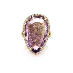 Mark Broumand 15.79ct Pear Shaped Amethyst and Diamond Right-Hand... ($1,595) ❤ liked on Polyvore featuring jewelry, rings, yellow gold, womens jewellery, pear cut engagement rings, 14 karat gold ring, pandora jewelry and amethyst jewelry