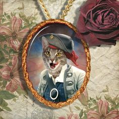 Tabby Cat Jewelry Pendant Necklace by NobilityCatsandPets