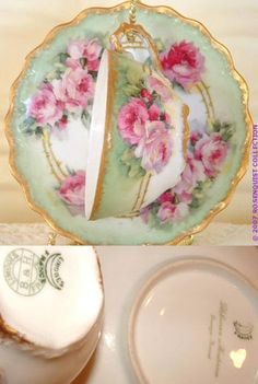 Perfection:  Antique Ruby Roses & Mint Green Limoges Tea Cup & Saucer. Victorian rose garland, circa 1900. The scalloped edge of the saucer lends special interest. This was painted by a professional French artist about 100 years ago who worked for the well-renowned French Porcelain Art Decorating Studio: Blakeman & Henderson, of Limoges, France.