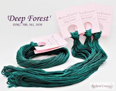 Hand dyed, hand painted cotton thread for embroidery, cross stitch, point de croix - 'Deep Forest' Embroidery Thread, Cross Stitch Embroidery, Deep Forest, Dmc, Cotton Thread, Cross Stitching, Creations, Hand Painted, Hands