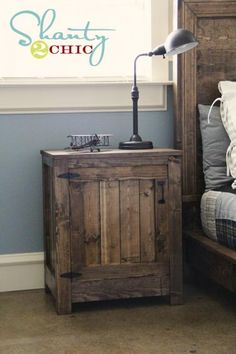 15 Awesome DIY Nightstand Ideas. Do they also have directions to make the matching headboard?? Furniture Projects, Wood Projects, Woodworking Projects, Woodworking Plans, Rustic Furniture, Diy Furniture, Furniture Online, Furniture Stores, Antique Furniture