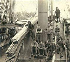Four-masted bark AUSTRASIA at dock loading lumber, Port Blakely, Washington, ca. 1904. :: Wilhelm Hester Photographs