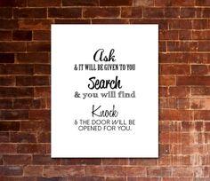 JESUS QUOTE | Ask, Search, Knock | PRINTABLE Artwork | Biblical Quote | Black & White