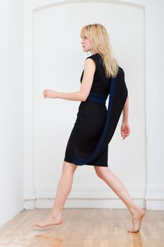 Navy And Black Wool Asymmetrical Dress -- found on BIBANDTUCK.COM #TiaCibani #Ilana