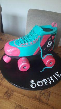 Roller Skate Cake 9th Birthday Parties, 10 Birthday, Cool Birthday Cakes, Birthday Cake Girls, Roller Skating Party, Skate Party, Derby Party, Roller Skate Cake, Roller Derby