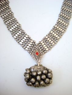 vintage antique ethnic tribal old silver pendant necklace belly dance jewelry