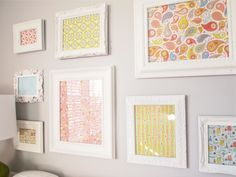 Pretty fabrics in white frames for N's room.