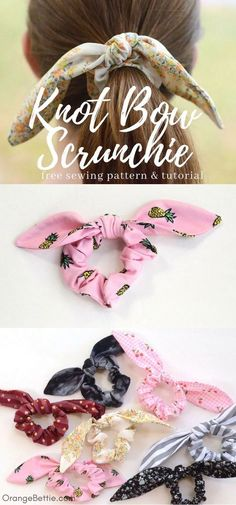 Sewing tutorial: Knot bow scrunchie, with pattern Tutoriel de couture: chouchou noeud noeud, avec motif Sewing Hacks, Sewing Tutorials, Sewing Crafts, Sewing Tips, Diy Gifts Sewing, Bag Tutorials, Hairband, Headbands, Leftover Fabric
